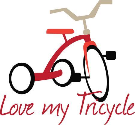 driewieler: Hier is de eerste wijze van vervoer voor velen de driewieler. Deze jongen favoriete kijkt groot op playwear. Stock Illustratie