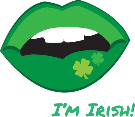 st  pattys: The phrase kiss me Im Irish comes to live with these green clover decorated lips  What a grand way to add unexpected charm to your St. Pattys decorating