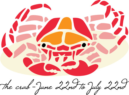 cancer crab: cancer crab sea life animal superstition star astrology astronomy horoscope fortune telling prophecy prophesy Illustration
