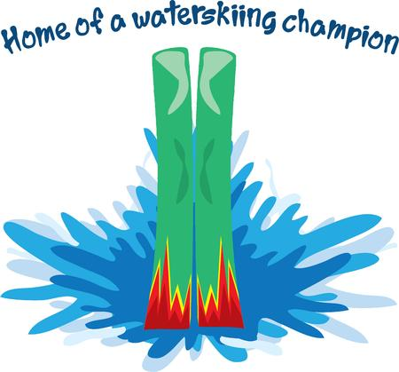 water skier: A champion water skier makes this exciting sport look easy.  Decorate swim gear with this fun graphic.