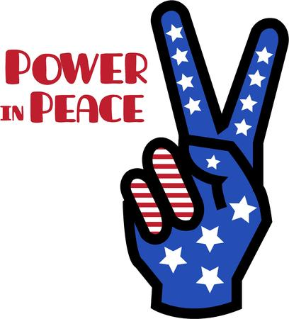 hand held: Send peace and love with a patriotic flair.  Stars and stripes color this hand held peace sign to embellish your signs or apparel.