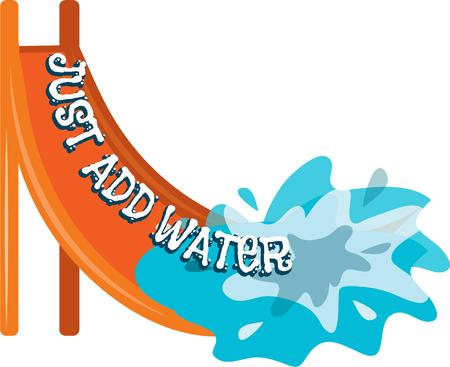 water slide: Decorate swim gear with this fun design of a slide into the water.  Make a big splash