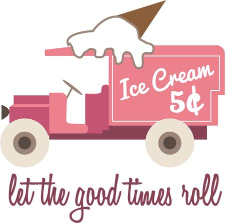 sure: Yummy frozen treats from a vintage truck.  Fun decorative piece sure to bring back childhood memories.
