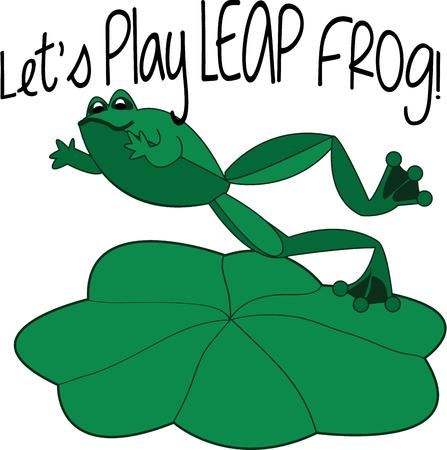 lily pad: Our cheerful frog leaps from lily pad to lily pad spreading cheer as he leaps along.  This little character is a perfect way to dress up kids gear or room dcor. Illustration