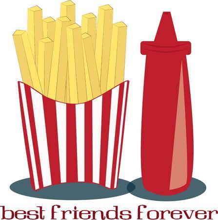 frites: Fries and ketchup