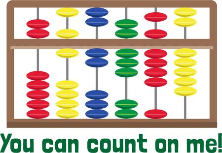 abaci: While not as functional it is prettier than a calculator  This abacus design is super fun for math related projects. Illustration