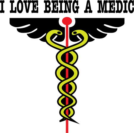 caduceus snake with stick: Staff symbolic for medical professionals Illustration