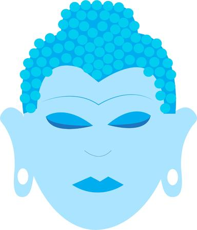 gautama buddha: This shades of blue Buddha adds an Asian flair to your projects.  Elegant and peaceful.