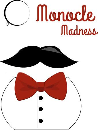 monocle: gentleman with mustache and monocle Illustration