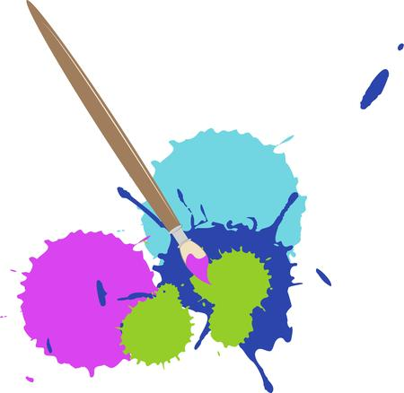 brush paint: Paint brush and paint splatter Illustration