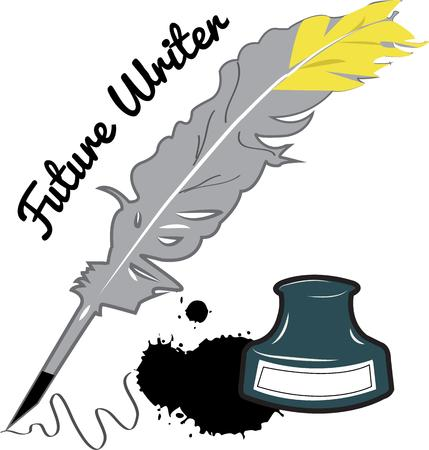 writing instrument: Ink and feather Illustration