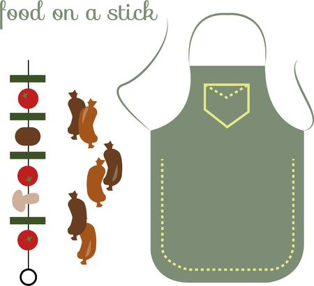 que: Time to grill up those veggies and sausages in just the proper apron.  This design is perfect to create a much appreciated apron for your grilling champ Illustration