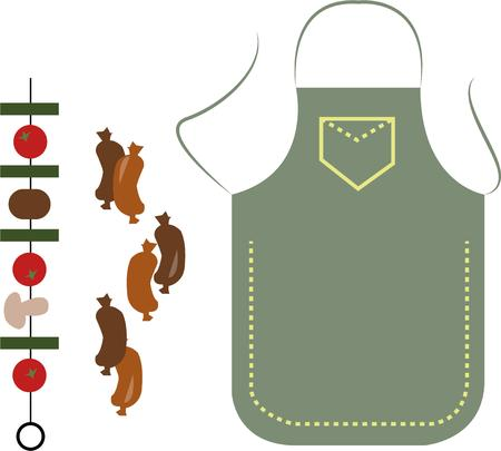 bar b que: Time to grill up those veggies and sausages in just the proper apron.  This design is perfect to create a much appreciated apron for your grilling champ Illustration