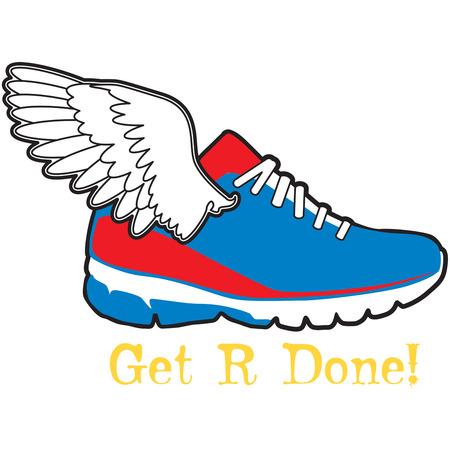 chaussure sport: Wing sur la chaussure de sport Illustration