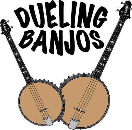 dueling: Dueling banjos Illustration