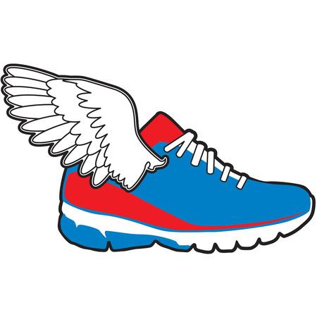 chaussure sport: Ailes sur chaussure de sport Illustration