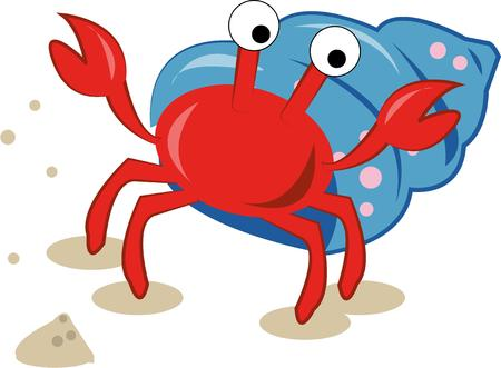 away travel: A happy little crab carries his shell everywhere so he is never away from home.  This cute crustacean is super cute on travel bags.