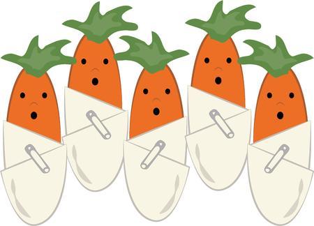 diaper pin: Baby carrots