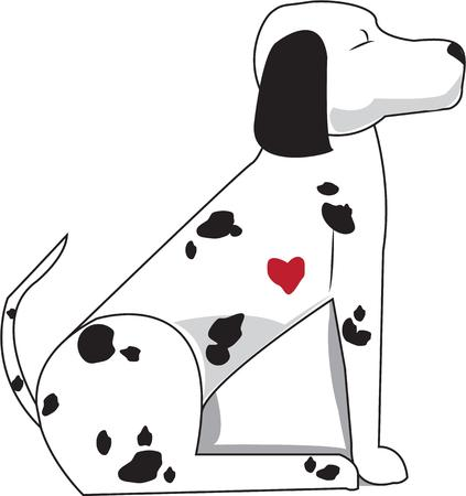 dalmation: Notice something special about this firehouse dog  He has a little red heart full of dalmation love. Illustration