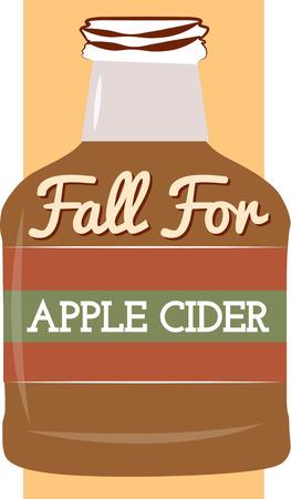 cider: A big bottle of apple cider Illustration