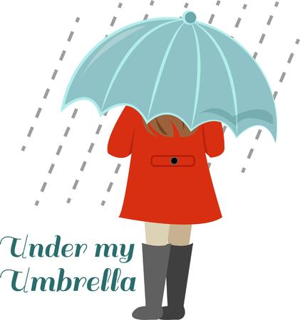 big girls: Keep the raindrops of your head with this great big umbrella.  What a fun design for a little girls raincoat. Illustration