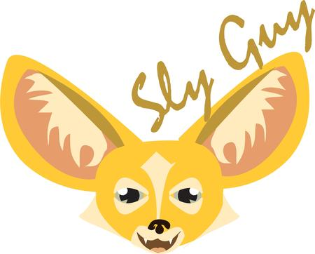 canine: This sly as a fox canine adds a wild touch to your creations.  We love the big ears. Illustration