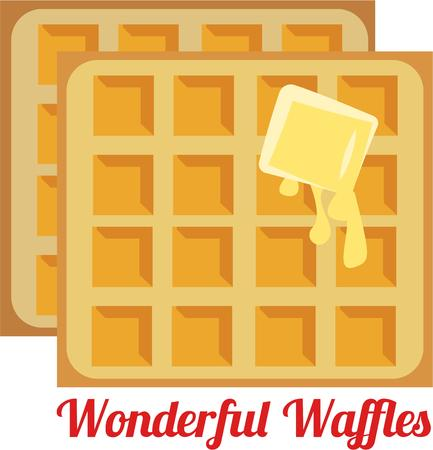buttered: Waffles with melted butter  Illustration