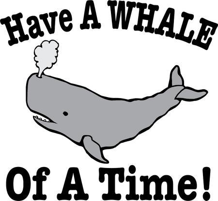 baleen whale: Este gran ballena gris a�ade un toque de mar para sus proyectos. Nos encanta este de ni�os desgaste. Vectores