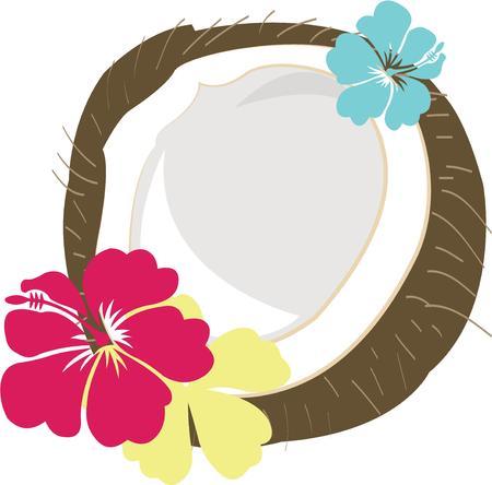 laurier rose: Ajouter la sensation des tropiques � vos projets. Cette noix de coco avec hibiscus color� est parfait pour tout projet de Voyage � th�me. Illustration
