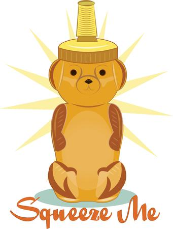 squeezed: Honey is all the more yummy served up from this squeezy bear dispenser.  This super sweet bear is the perfect decoration for placemats and table mats. Illustration