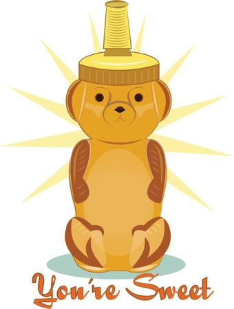 placemats: Honey is all the more yummy served up from this squeezy bear dispenser.  This super sweet bear is the perfect decoration for placemats and table mats. Illustration