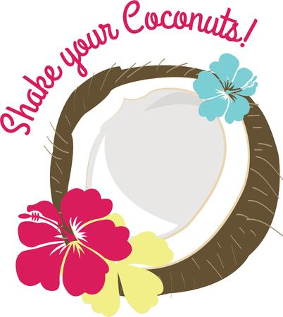 oleander: Add the feel of the tropics to your projects.  This coconut with colorful hibiscus is perfect for any travel themed project. Illustration