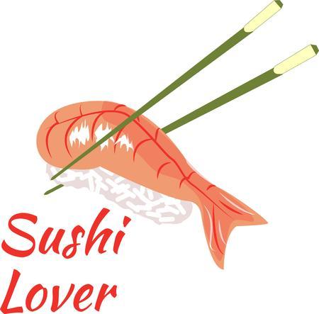 chop stick: Shrimp sushi