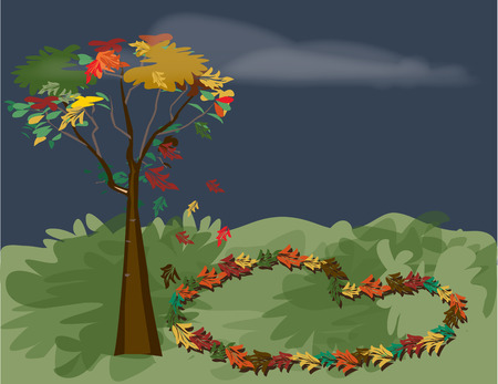 delightful: Fall in love with fall.  A heart made of colorful Autumn leaves makes this design especially delightful.