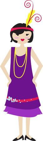 flapper: Nuestra chica de la aleta tiene sus zapatos de baile y listo para la fiesta. Pelo corto y un tocado de plumas hacen su chica el perfecto de 20 Vectores