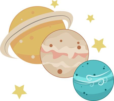 interplanetary: Planet motifs make lovely kid room decorations or apparel decorations.  This design of planets and stars bring that interplanetary touch to your creations Illustration