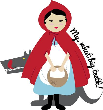 lurking: Heres Little Red Riding Hood with her basket of treats for Grandma.  But beware of the lurking wolfe. Illustration