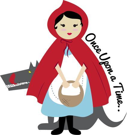little red riding hood: Cappuccetto Rosso con il suo cesto di dolcetti