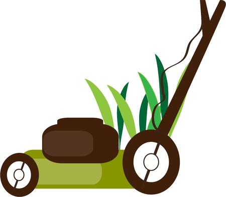 mowing the lawn: Lawn mowing Illustration