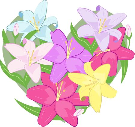 incorporates: Think love and there are hearts and flowers.  This design incorporates these symbols of affection into one colorful design of lilies.