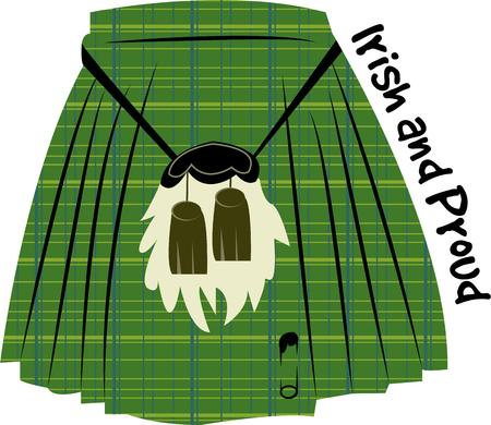 sporran: No its not a skirt.  Its a kilt.  A traditional dress for Scottish men created in the plaid of the clan.