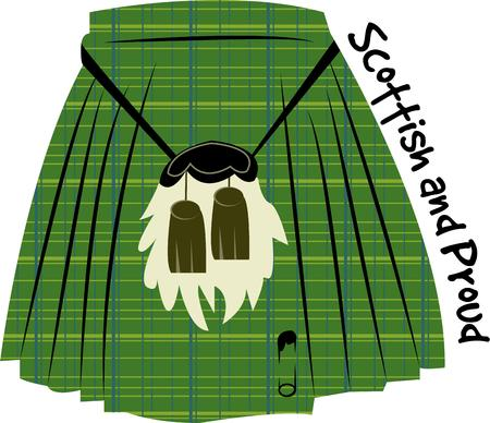 kilt: No its not a skirt.  Its a kilt.  A traditional dress for Scottish men created in the plaid of the clan.