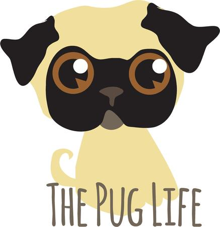 carlin: This super cute pup is looking for a friend to love.  Add this dreamy eyed sweetie to kids wear for a special pug friend. Illustration