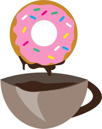 coffee: Doughnut and coffee Illustration