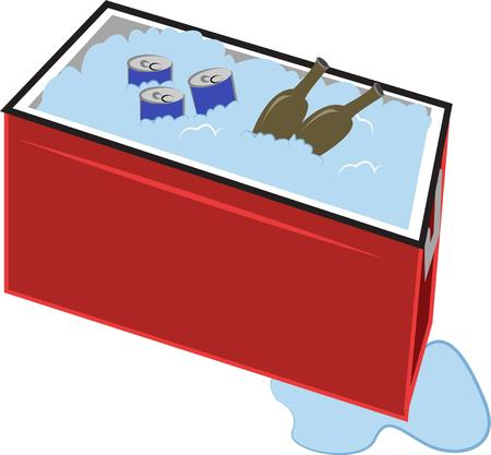cooler:  cooler full of beverages Illustration