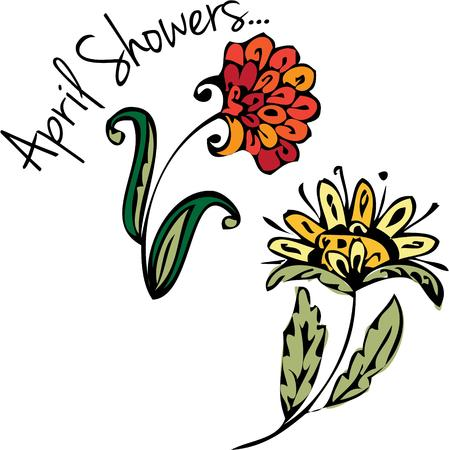 showers: Sweet April showers bring May flowers These are lovely spring flowers for your spring creativity. Illustration