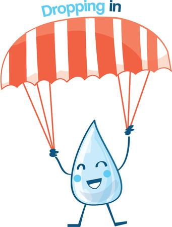 sky dive: Raindrop cartoon