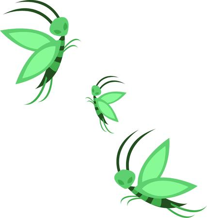 fey: Cute little green bugs take flight across the canvas you create for them.  This trio adds life to your special creations.