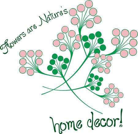 dcor: Every Spring flower is a soul blossoming in nature. These simple stems add stunning pink and greens to dcor and apparel. Illustration