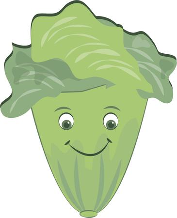 sativa: A smiling face of lettuce serves as a fun reminder to eat healthy.  This leafy green is a welcome addition to any meal.